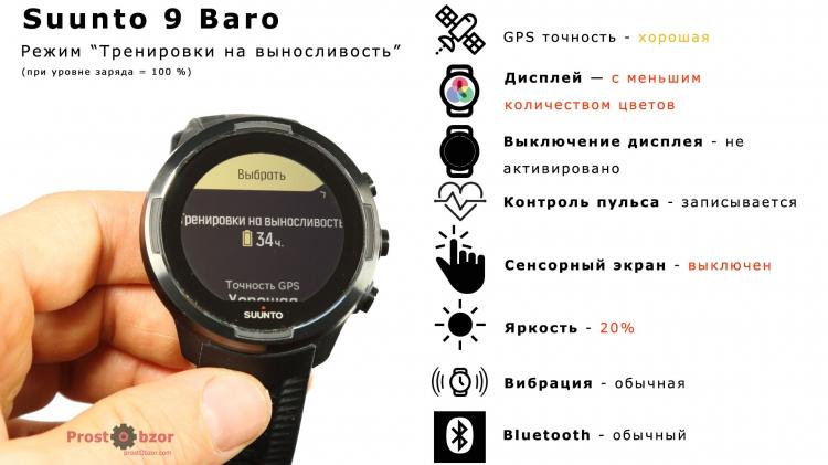 Режим аккумулятора Тренировка на выносливость для Suunto 9 Baro