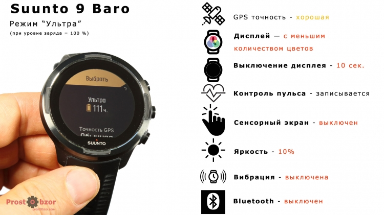 Режим аккумулятора Ультра для Suunto 9 Baro