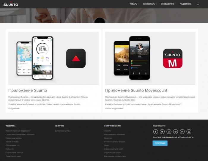 Поддержка мобильных версий Suunto, Movescount