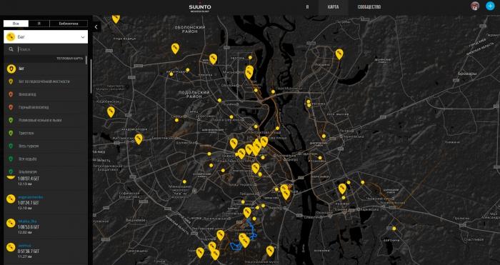 Тепловая карта в Веб-сервисе Movescount