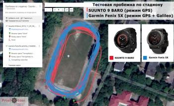 Тест GPS - SUUNTO 9 vs Garmin Fenix 5X - бег на стадионе