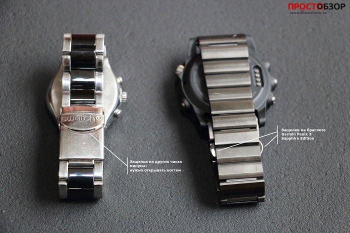 Сравнение зажимов браслета Fenix 3
