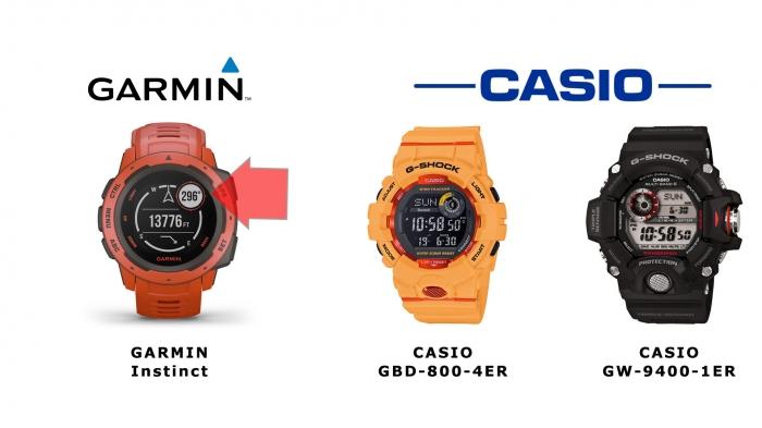Сравнение размещения дисплеев часов Garmin vs Casio