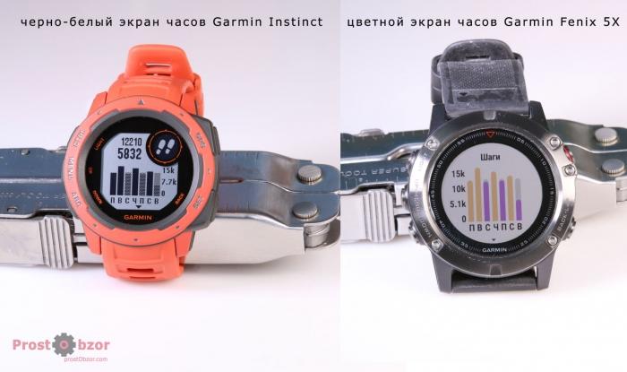 Сравнение экранов Garmin Instinct VS Garmin Fenix 5X
