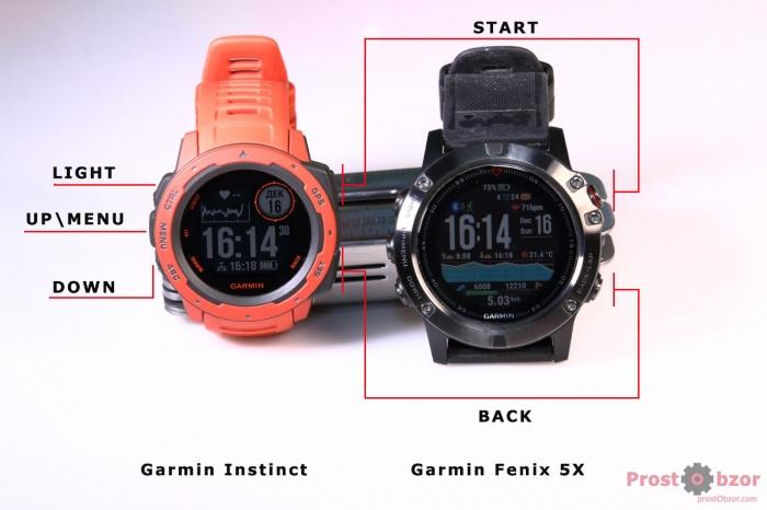 Сравнение управление кнопок часов Garmin Instinct VS Garmin Fenix 5X