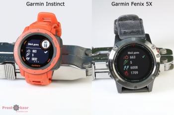 Пример интерфейса часов Garmin Instinct vs Fenix 5X - 1