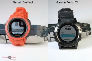 Пример интерфейса часов Garmin Instinct vs Fenix 5X -2