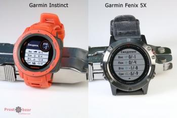 Пример интерфейса часов Garmin Instinct vs Fenix 5X -3