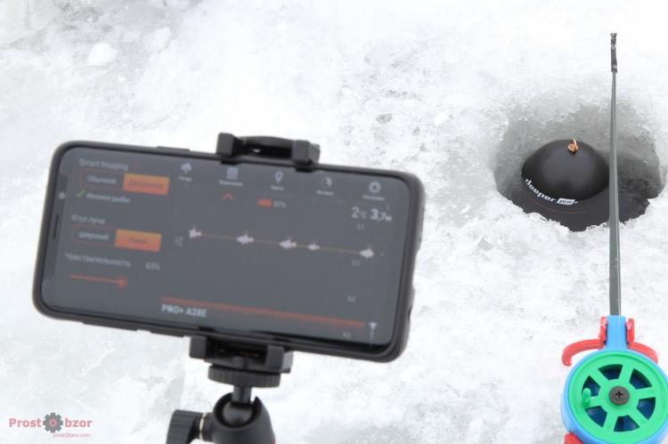 Установка смартфона для зимней рыбалки