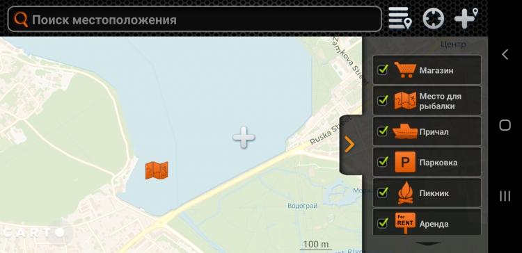 Пример точек на карте в программе Deeper