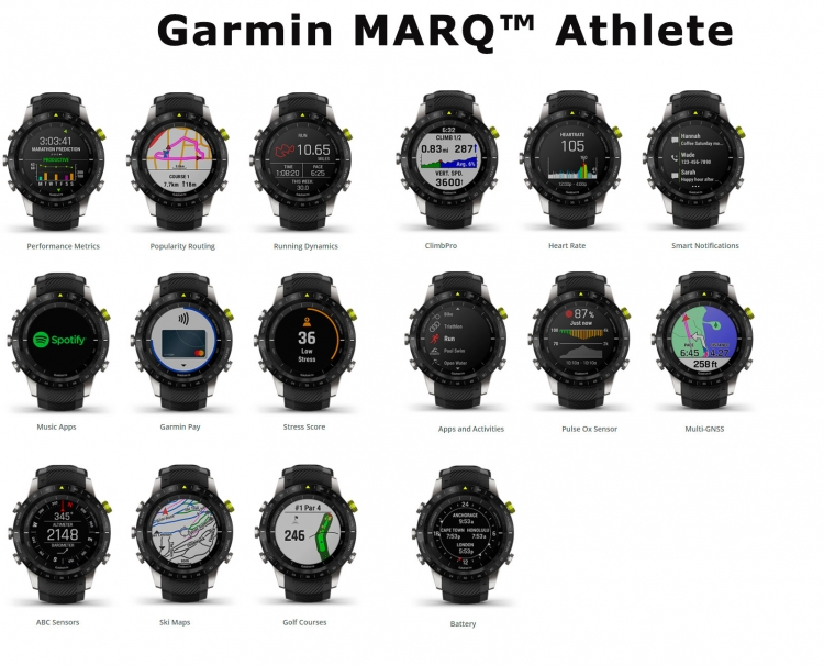Экраны часов Garmin MARQ Athlete