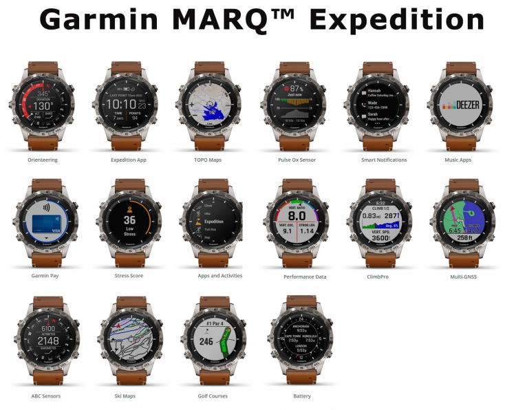Экраны часов Garmin MARQ Expedition