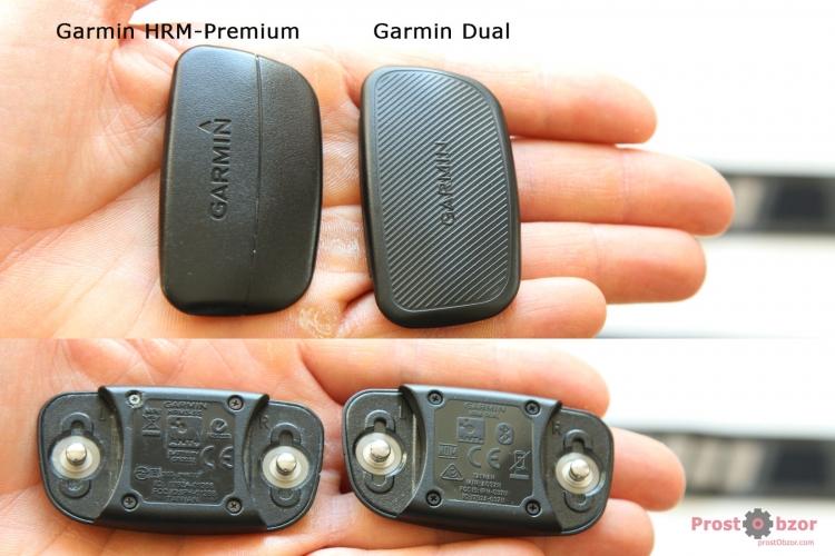 Сравнение передающих площадок кардио-ремней Garmin HRM-Dual vs Premium