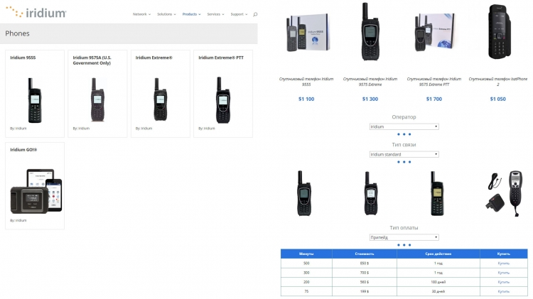 Цены и тарифы спутникового оператора Iridium