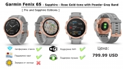 Часы Garmin Fenix 6S - Sapphire - Rose Gold-tone with Powder Gray Band