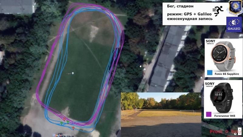 Тест пробежка на стадионе - GPS + Galileo для часов Fenix 6 - Forerunner 945