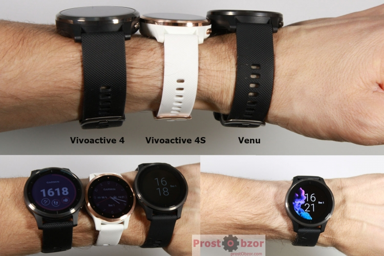 Часы Garmin Venu и Vivoactive 4 на запястье руки 16мм