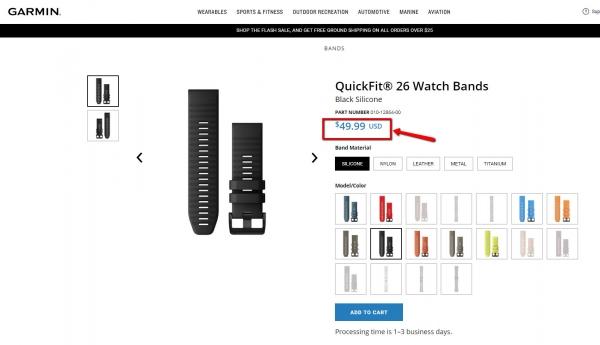 Цена на фирменный силиконовый ремешок Garmin Fenix 6X - система QuickFit