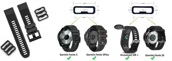 Защитные кольца для силиконовых ремешков Garmin Fenix 6 - 6S (тренчик)