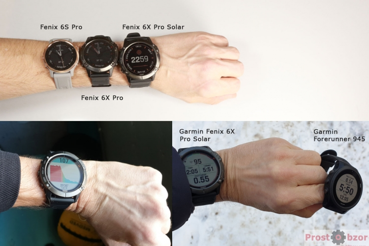 Сравнение размера часов Fenix 6X Pro Solar на руке