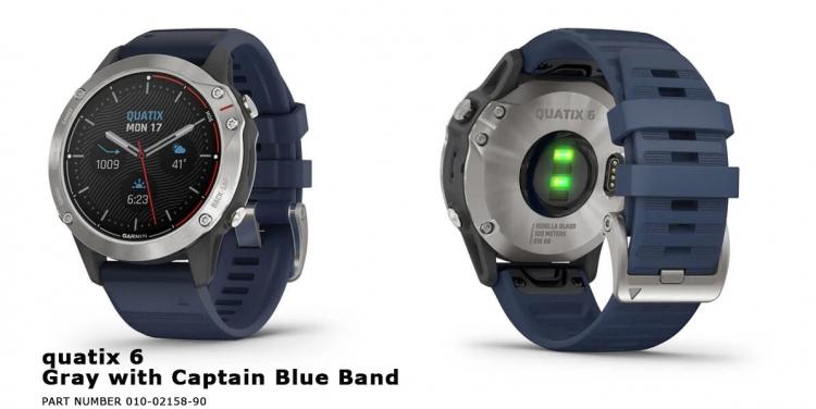 часы quatix 6 Gray with Captain Blue Band