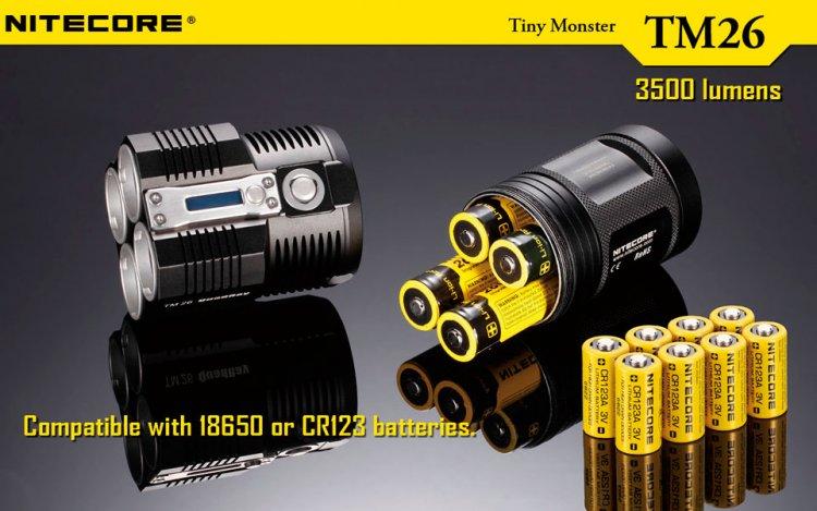 Аккумуляторы CR123A / 16340 для фонарика Nitecore TM26