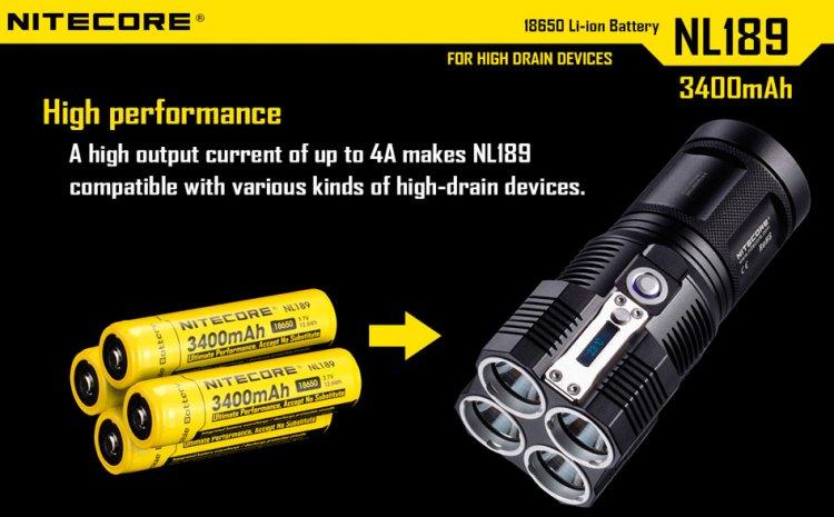 4 аккумулятора для Nitecore TM26