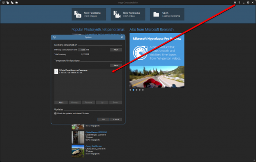 бесплатная программа для создания панорам - MS Image Composite Editor - настройки