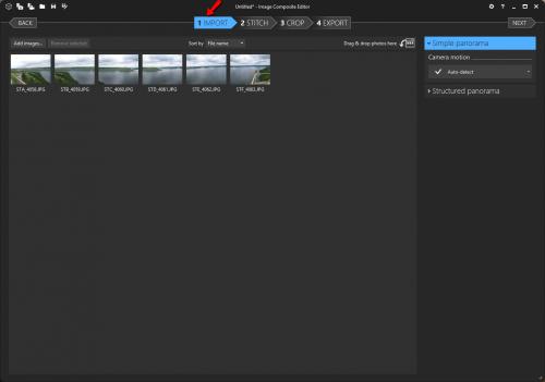 бесплатная программа для создания панорам - MS Image Composite Editor - импорт фото