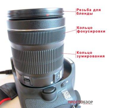 Основные элементы управления объективом canon18-135mm is stm kit