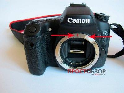 Места крепления объективов для камеры Canon EOS 70D