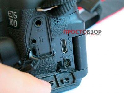Боковые разъемы фотоаппарата Canon EOS 70D