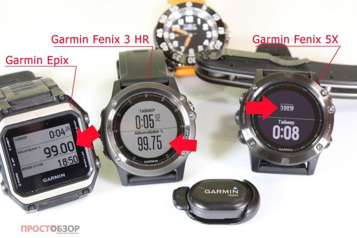 Начало теста аккумулятора часов Garmin Fenix 5X, 3HR, Epix
