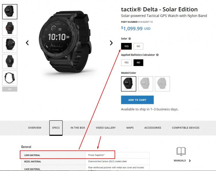 Часы Garmin Tactix Delta Solar с Сапфировым стеклом и зарядки от солна