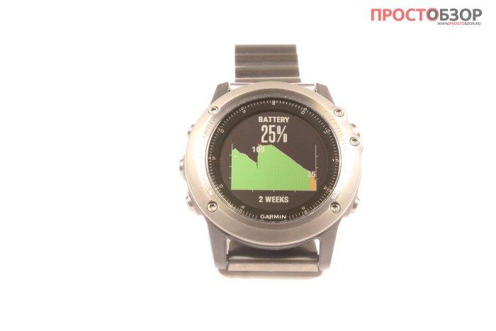Пример разрядки аккумулятора часов Fenix 3 на виджете BATTERY GAUGE