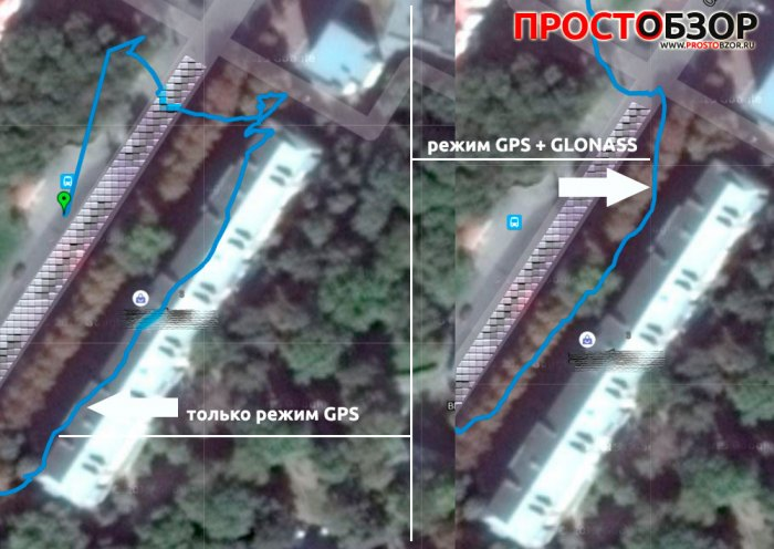 Сравнение треков часов Garmin с GPS и Glonass