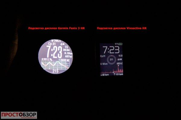 Ночная подсветка часов Garmin Fenix 3 HR, Vivoactive HR