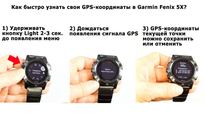 Как быстро узнать свои GPS координаты в Fenix 5X