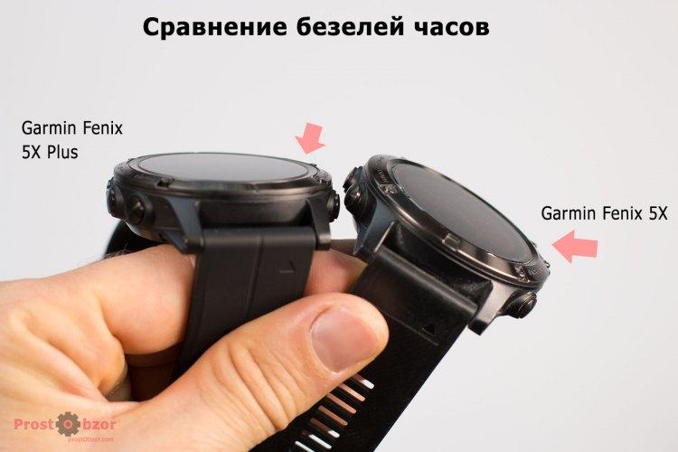 Сравнение высоты безелей часов  Garmin Fenix 5X plus и Fenix 5X