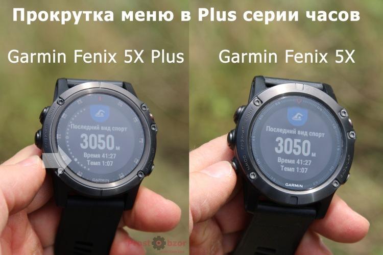 Пример меню прокрутки виджетов Garmin Fenix 5X Plus