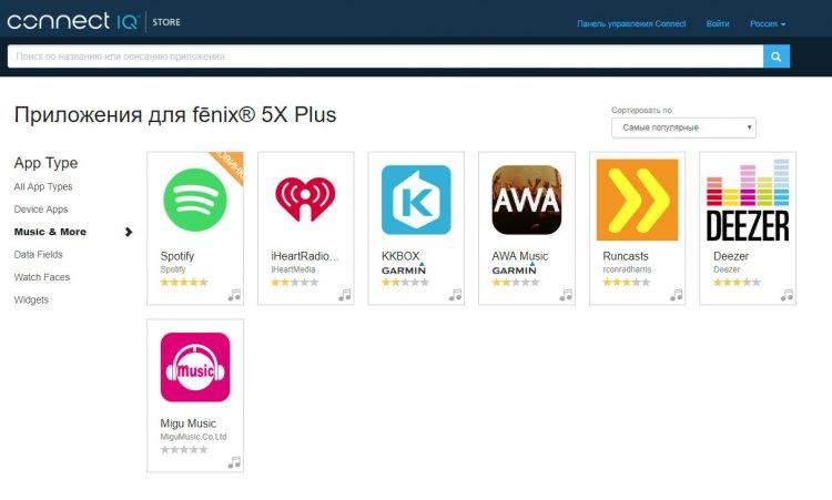 Поддержка музыкальных сервисов  - Garmin Connect IQ для серии часов Fenix Plus