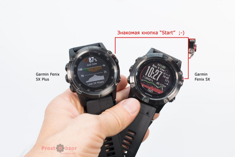 Одинаковые кнопки управления часами Garmin Fenix 5X Plus и Fenix 5X