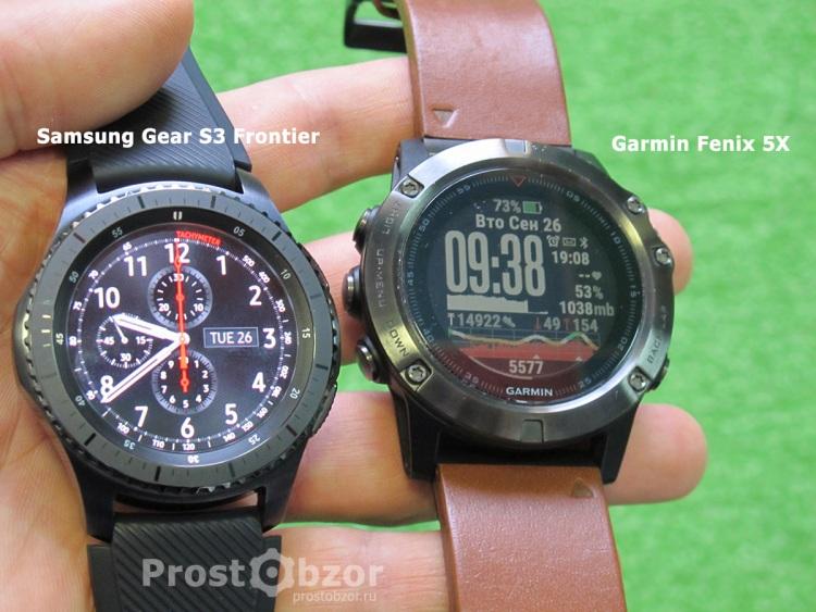 Сравнение внешнего вида часов Samsung Gear S3 Frontier - Garmin Fenix 5x