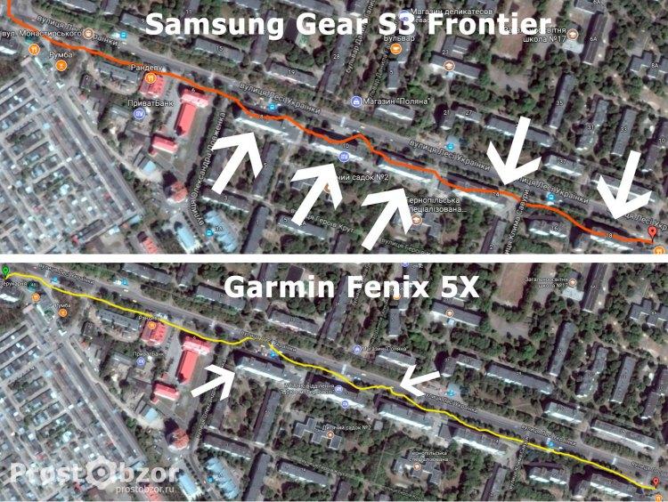 Тест GPS часов в застроенных районных для часов Samsung Gear S3 Frontier - Garmin Fenix 5x