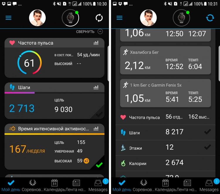 Мобильное приложения Garmin Connect Mobile для часов Garmin Fenix 5, 5S, 5X