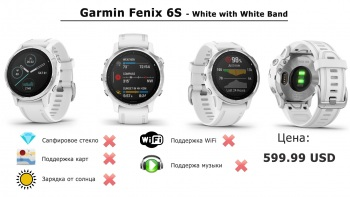 Часы Garmin fēnix 6S - White with White Band