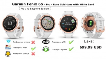 Часы Garmin Fenix 6S - Pro - Rose Gold-tone with White Band