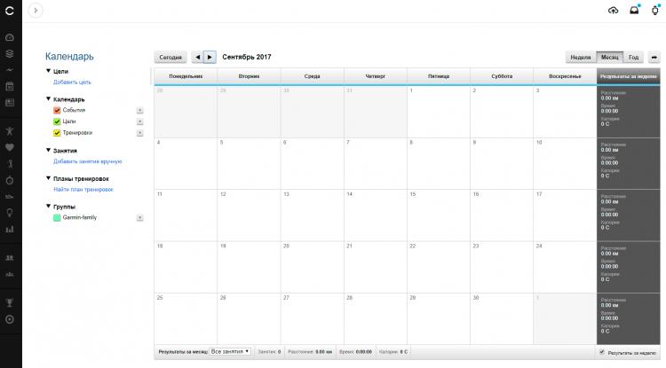Новый и пустой Garmin Календарь
