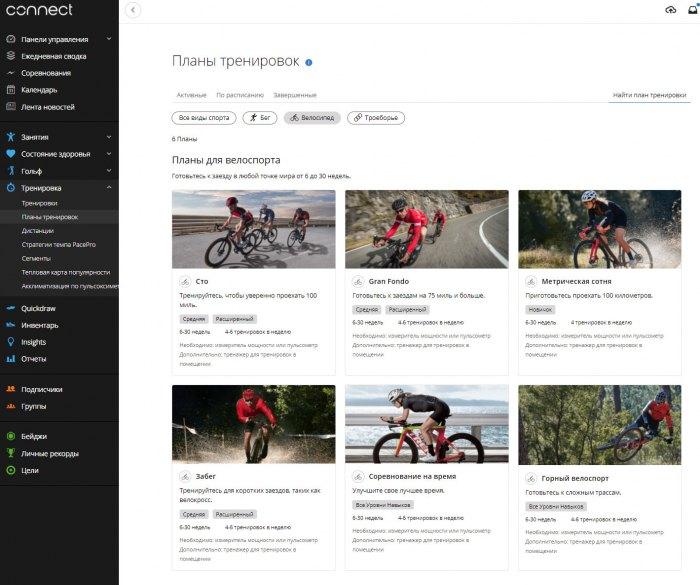 Тренировочные вело планы для велокомпьютеров Garmin edge