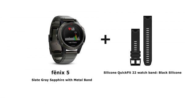 Модель часов garmin-fenix-5-meta-band-strap с сменным силиконовым черным ремешком